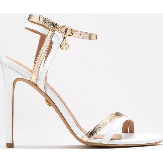 Biało złote sandały damskie Kazar dzianiny