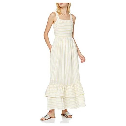 Sukienka w paski biała z dekoltem karo na ramiączkach maxi
