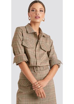 Emilie Briting x NA-KD Checked Pocket Shirt - Brown  NA-KD  - kod rabatowy