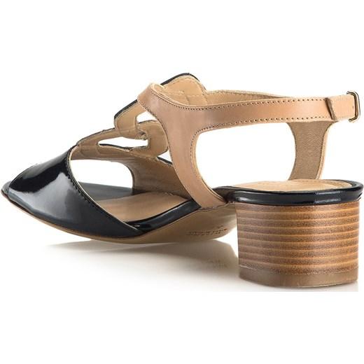 Sandały damskie Wittchen z klamrą na obcasie eleganckie skórzane