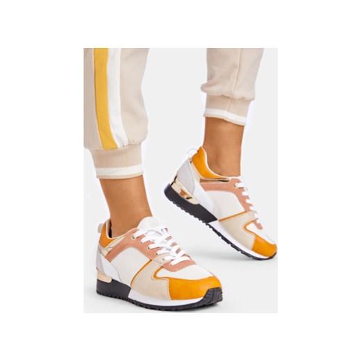 Buty sportowe damskie DeeZee sneakersy młodzieżowe nike revolution bez wzorów sznurowane na płaskiej podeszwie
