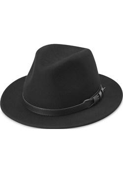 Czarny wełniany kapelusz fedora z płaskim rondem Flavio Moda Fawler  Trendhim - kod rabatowy