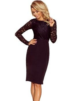 Elegancka ołówkowa sukienka z koronką - CZARNA Numoco  wyprzedaż 4myself.pl  - kod rabatowy