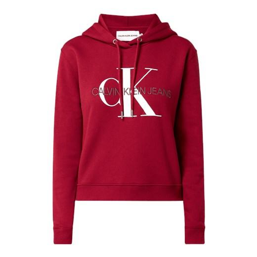 bluza damska calvin klein jeans czerwona z białym napisem
