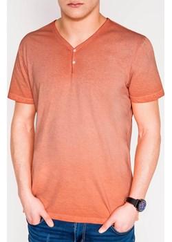 T-shirt męski bez nadruku 894S - pomarańczowy Edoti.com  okazja   - kod rabatowy