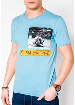 T-shirt męski z nadrukiem 985S - błękitny  Edoti.com promocyjna cena   - kod rabatowy
