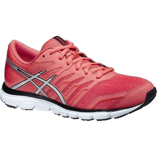 Buty sportowe damskie Asics do biegania czerwone na płaskiej podeszwie bez wzorów sznurowane