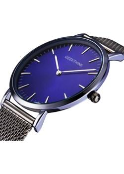 Zegarek premium GeekThink na srebrnej bransolecie - niebieska tarcza  Geekthink wyprzedaż niwatch.pl  - kod rabatowy