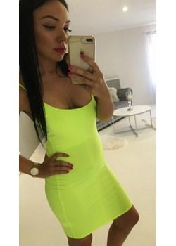 Neonowa, obcisła sukienka  O La Voga Avenue M okazja  - kod rabatowy