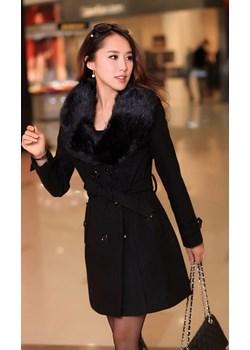Płaszcz czarny zimowy dwurzędowy z futerkiem  Estera promocja DAFNIS  - kod rabatowy