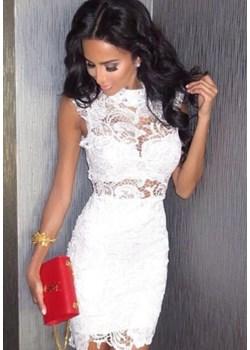 Sukienka biała, mini, koronkowa   DAFNIS - kod rabatowy