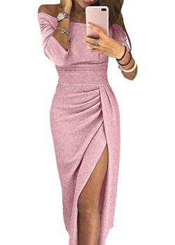 Niezwykła różowa sukienka ze srebrną nitką - Sylwester   DAFNIS - kod rabatowy