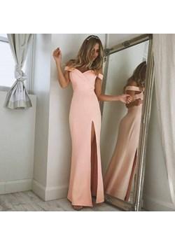 Sukienka długa różowa z rozcięciem Estera  DAFNIS - kod rabatowy