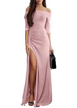 Maxi sukienka na Studniówkę, różowa   DAFNIS - kod rabatowy