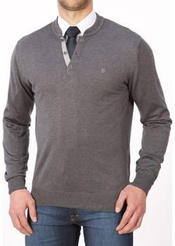 Sweter polo popielaty - regular  Lanieri Lanieri.pl - kod rabatowy