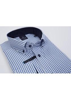 Koszul biała-niebieska kratka- kołnierzyk button down - body fit (wzrost 176-182) Lanieri  Lanieri.pl - kod rabatowy