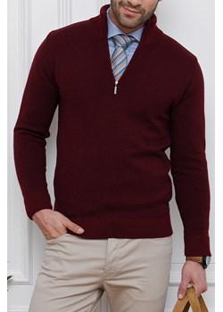 Sweter bordowy zapinany na krótki zamek - regular Lanieri  Lanieri.pl wyprzedaż  - kod rabatowy