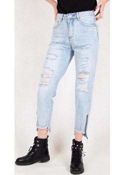 Spodnie jeansowe typu boyfriend z przetarciami i zamkiem   okazyjna cena berry.com.pl  - kod rabatowy