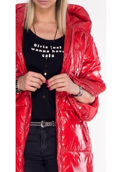 Włoski płaszcz ROZPINANE RĘKAWY czerwony połysk   Lagattini.pl - kod rabatowy