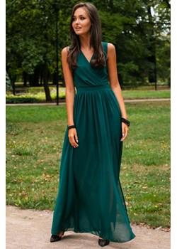 Długa suknia na ramiączkach z rozcięciem-butelkowa zieleń  Rocco Pawelczyk24.pl okazyjna cena  - kod rabatowy