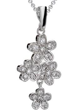 Srebrny naszyjnik kwiaty z cyrkoniami G12   evebird.pl - kod rabatowy