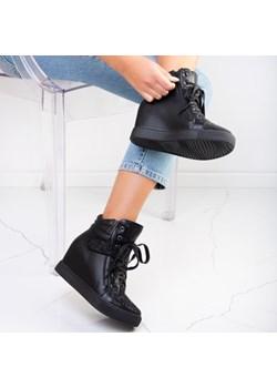 Czarne sneakersy na krytym koturnie z cyrkoniami Annett - Obuwie Royalfashion.pl   - kod rabatowy
