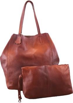 Skórzana kasztanowa torebka 2w1 z kosmetyczką   TrendyTorebki - kod rabatowy