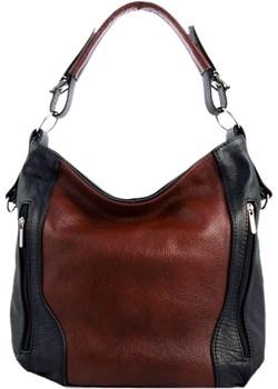 Skórzana brązowo-czarna torebka listonoszka z zamkami   TrendyTorebki - kod rabatowy