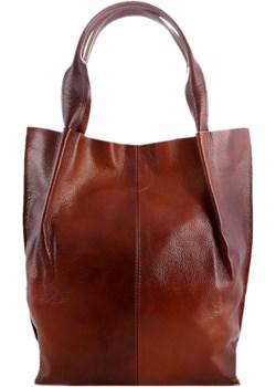 Skórzana brązowo-ruda torebka/shopper/aktówka   TrendyTorebki - kod rabatowy