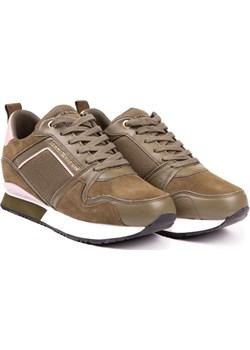Tommy Hilfiger khaki skórzane trampki Mix Material Wedge Sneaker Stone Gray Tommy Hilfiger  Differenta.pl - kod rabatowy