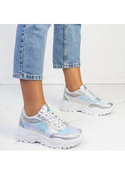 Srebrne buty sportowe z cekinami Bling - Obuwie  Royalfashion.pl  - kod rabatowy