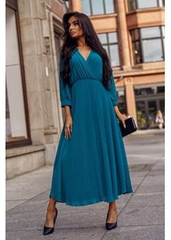Sukienka Landa Dark Turquoise Maxi-GN05-One Size Szyfonowa, elegancka sukienka o długości przed kostkę.  Molerin  - kod rabatowy
