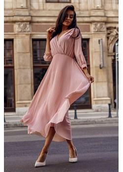 Sukienka Landa Pink Maxi-PI02-One Size Wizytowa, rozkloszowana sukienka w pudrowym kolorze.  Molerin  - kod rabatowy