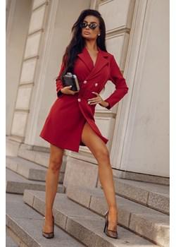 Sukienka Aurelia Brick-BR04-One Size Elegancka, dwurzędowa żakietowa sukienka z długim rękawem.  Molerin  - kod rabatowy