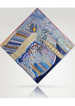 duża apaszka z jedwabiu z motywem rysunków Allora   - kod rabatowy