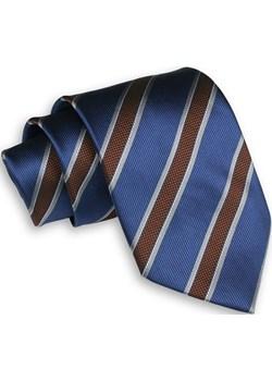 Niebiesko-Brązowy Męski Krawat -Chattier- 8cm, Klasyczny, Szeroki, Elegancki, w Grube Paski KRCH1094 Chattier  JegoSzafa.pl - kod rabatowy
