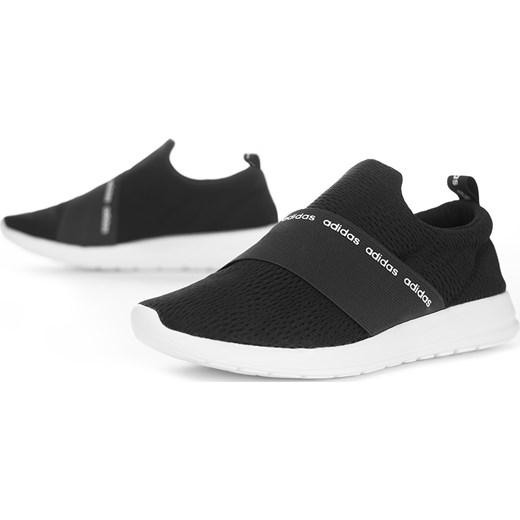 Czarne buty sportowe damskie Adidas płaskie bez wzorów na wiosnę