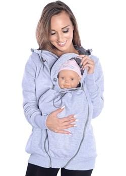 MijaCulture - 3 w1 bluza 3D ciążowa i do noszenia dziecka  4046/M50 melanż Mijaculture MijaCulture - kod rabatowy