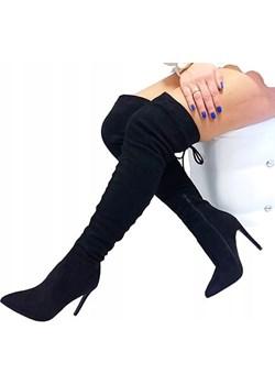 KOZAKI za kolano szpilki eco ZAMSZ KBU1003  Ideal Shoes onaion58 - kod rabatowy