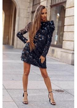 Sweterkowa sukienka Elwira z cekinami-BK01-S Czarna, mini sukienka z pufkami przy rękawach  Molerin  - kod rabatowy
