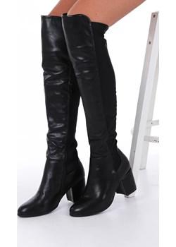Czarne kozaki muszkieterki za kolano na szerokim słupku z lycrą w cholewce Casu G19X36/B  Casu Casu.pl - kod rabatowy