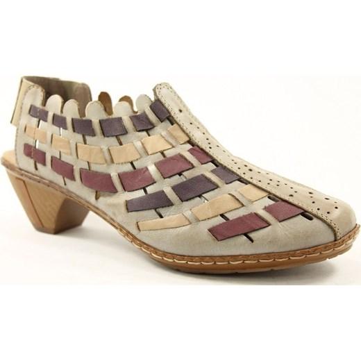 Brązowe sandały damskie Rieker na lato