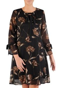 Szyfonowa sukienka z ozdobnymi wiązaniami, kreacja w kwiaty 22206.   Modbis - kod rabatowy