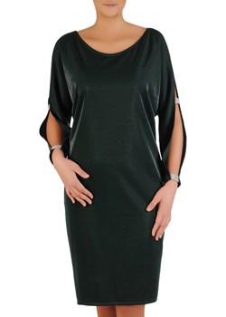 Zielona sukienka z ozdobnymi rozcięciami na rękawach 22826  Modbis  - kod rabatowy