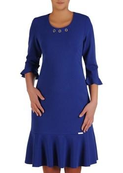 Sukienka w trapezowym fasonie, chabrowa kreacja z falbankami 23227   Modbis - kod rabatowy