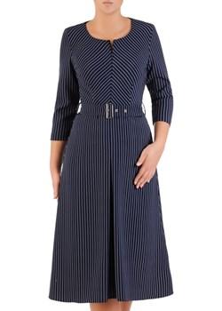 Sukienka z paskiem, jesienna kreacja w wyszczuplającym wzorze 21819.   Modbis - kod rabatowy