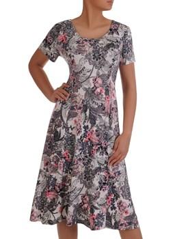 Sukienka damska 16689, dzianinowa kreacja w kwiaty.   Modbis - kod rabatowy