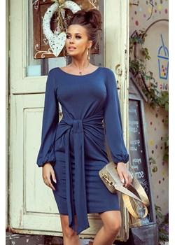 275-2 JENNY Wygodna sukienka z wiązaniem w pasie - JEANS Numoco  4myself.pl - kod rabatowy