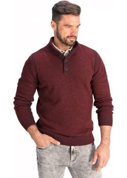 Sweter męski półgolf zapinany na guziki bordowy  Lanieri Lanieri.pl - kod rabatowy