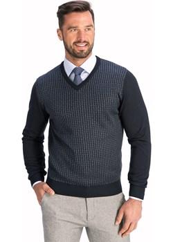 Sweter męski w szpic granatowy regular Lanieri  Lanieri.pl - kod rabatowy